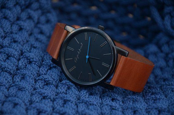 Horloge | Lederen horloge | Heren horloge | Womens horloge | Cadeau voor hem | Unisex horloge | Roestvrij stalen horloge met op maat gemaakte leerriem.