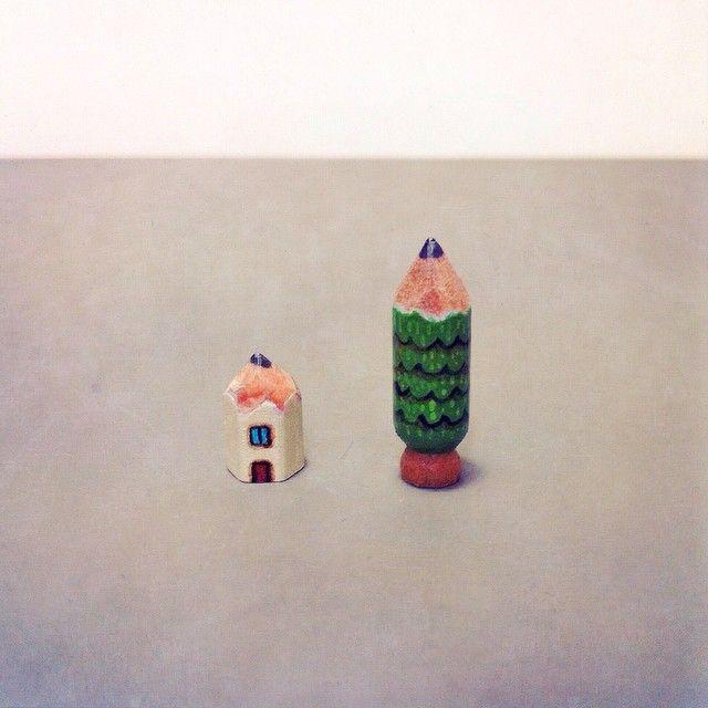 #art #acrylic #artwork #tiny #figure #doll #tinydoll #wood #woodcarving #pencil #pencilman #etsy #creative #craftsposure #stationery #handmade #miniature #house #tree