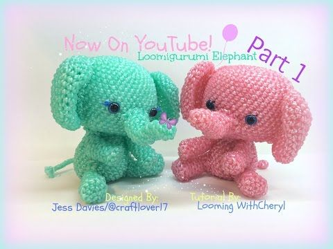 Rainbow Loom Elephant (Part 1 of 2) Loomigurumi Amigurumi Hook Only слон Лумигуруми - YouTube