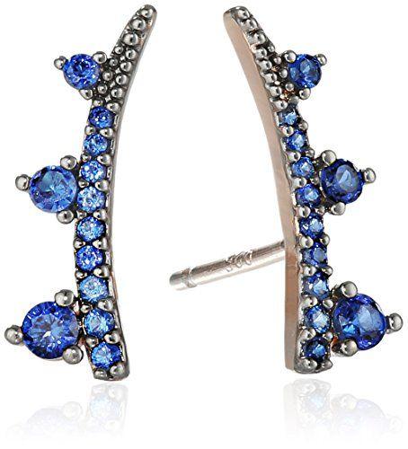 Tai Blue Pave Climber Earrings