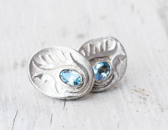Sterling Silver and Sky Blue Topaz Post Earrings, Silver Abstract Studs, Blue Jewelry, November Birthstone, Everyday Fine Jewelry, Santorini