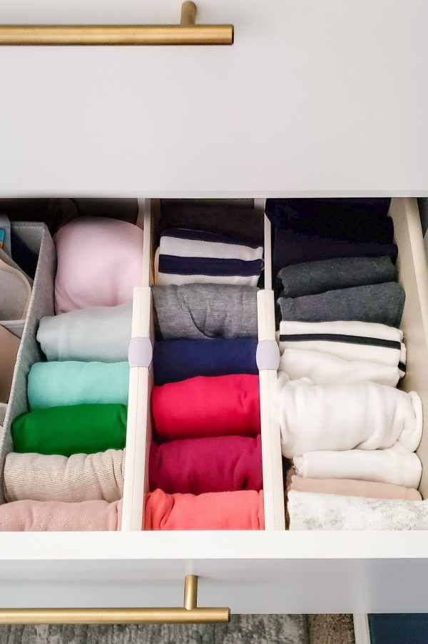 Always Trying To Find The Right Tank Top In Your Drawer Try This Easy Method Of Dres Dresser Drawer Organization Dresser Organization Bedroom Drawer Organizer