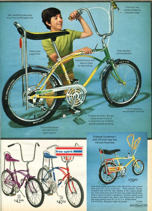 Mine has teal metal flame paint, the basket with multi-colored plastic flowers on it and a white banana seat with the same flowers painted on it. I would love to have that bike again!