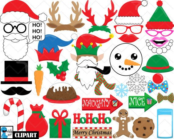 Christmas Props   Set Digital Clipart Clip Art by HaHaHaArt