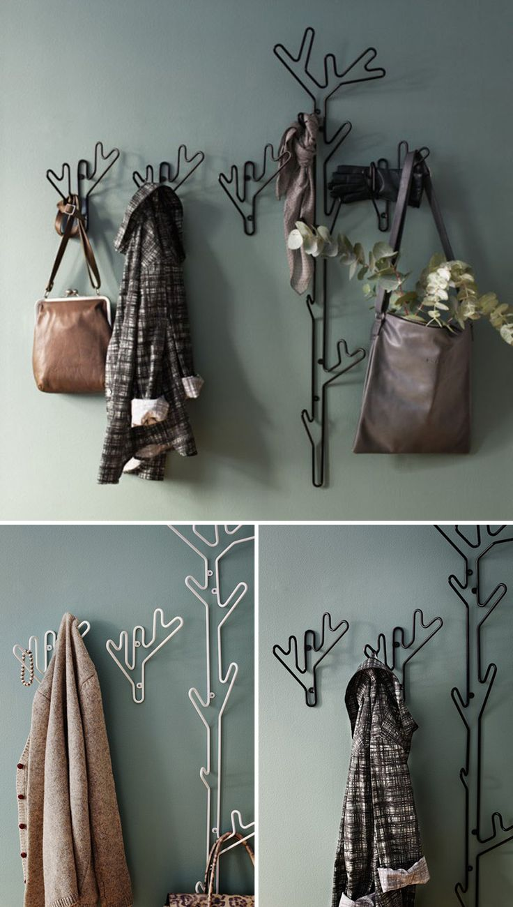 Small in size, these modern metal black and white hangers inspired by twigs and are ideal for a few items.