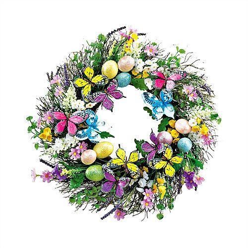 Easter Door Wreath Grapevine Twig Eggs Spring Hanging Decoration Butterflies New #SmartDealsMarket