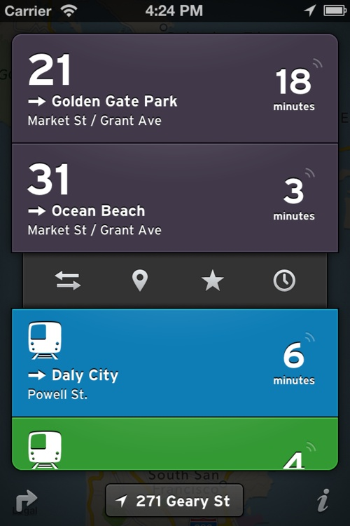 Really like the drawer and the directional toggle for each bus/metro line. Very solid interaction design - The Transit App