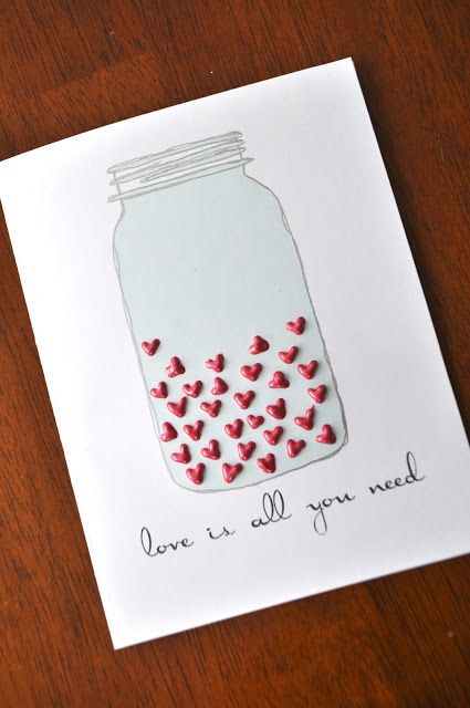 "This jar was printed from a computer with added text - and super puffy red hearts! Any texture can be used to create the tiny hearts - you basically draw little ""v"" shapes. These hearts were done with Tulip Beads in a Bottle. DIY Valentine's Card"