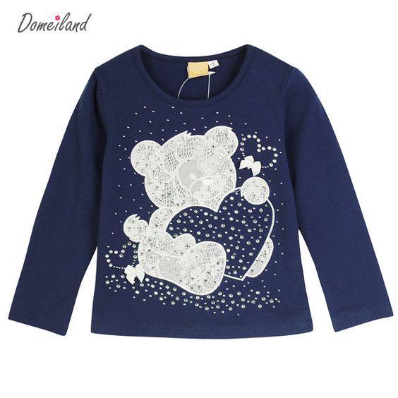 2017 de La Moda de primavera marca domeiland Baby Girl Clothes Oso Rhinestone de Dibujos Animados Lindo de Manga Larga Camisetas de Algodón De Punto Camisetas