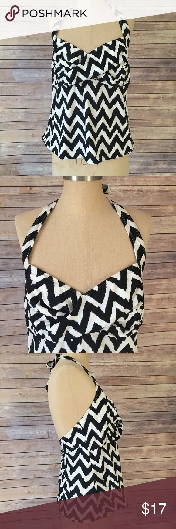 Black and White Chevron Plus Size Swim Top Size 1X or 16W. Runs a bit small, I'm a L XL and its fits me. The mannequin is my daughter's a size M and too big on the mannequin. This black and white chevron printed tankini is Unpadded and WireFree. Goes great with any solid colored bottoms. catalina Swim One Pieces