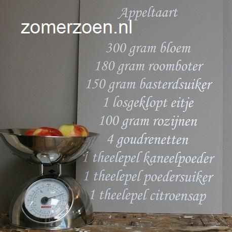 #muurteksten #appeltaart monotype #keukentekst