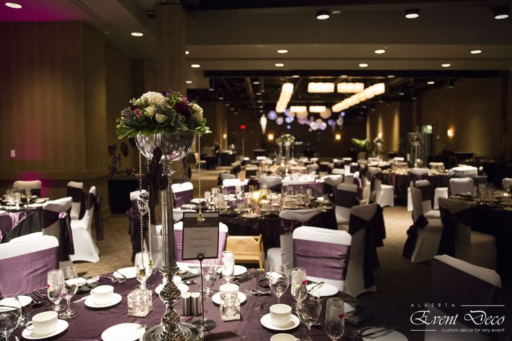 Tall Purple Centerpieces - Hotel Arts, Calgary, AB