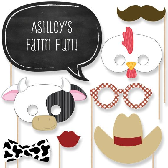 20 Farm Animals Photo Booth Props - Farm Photobooth Kit with Custom Talk Bubble for Baby Shower or Birthday Party