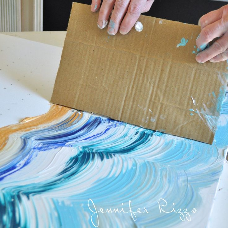 Drag your card board across your paint to make your pattern - paste paper maybe?