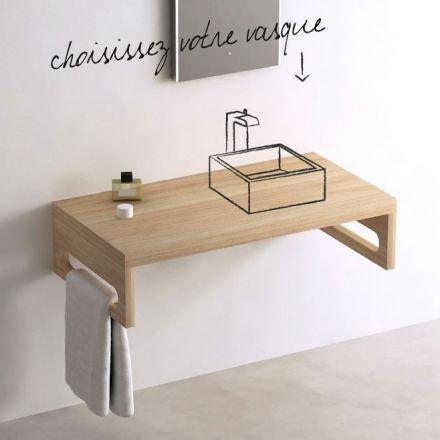 Plan vasque pour salle de bains en plaqué hêtre naturel. Equipé d'une équerre porte serviettes et d'une vasque au choix.