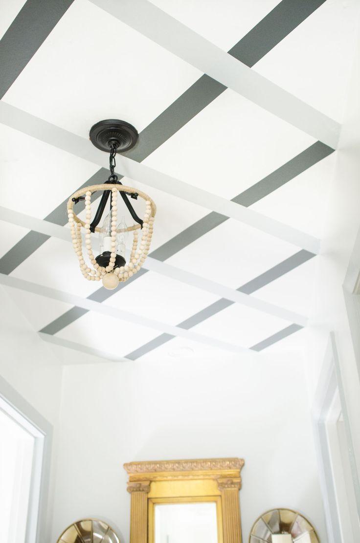 DIY ceiling lattice stripes with WallsNeedLove Easy