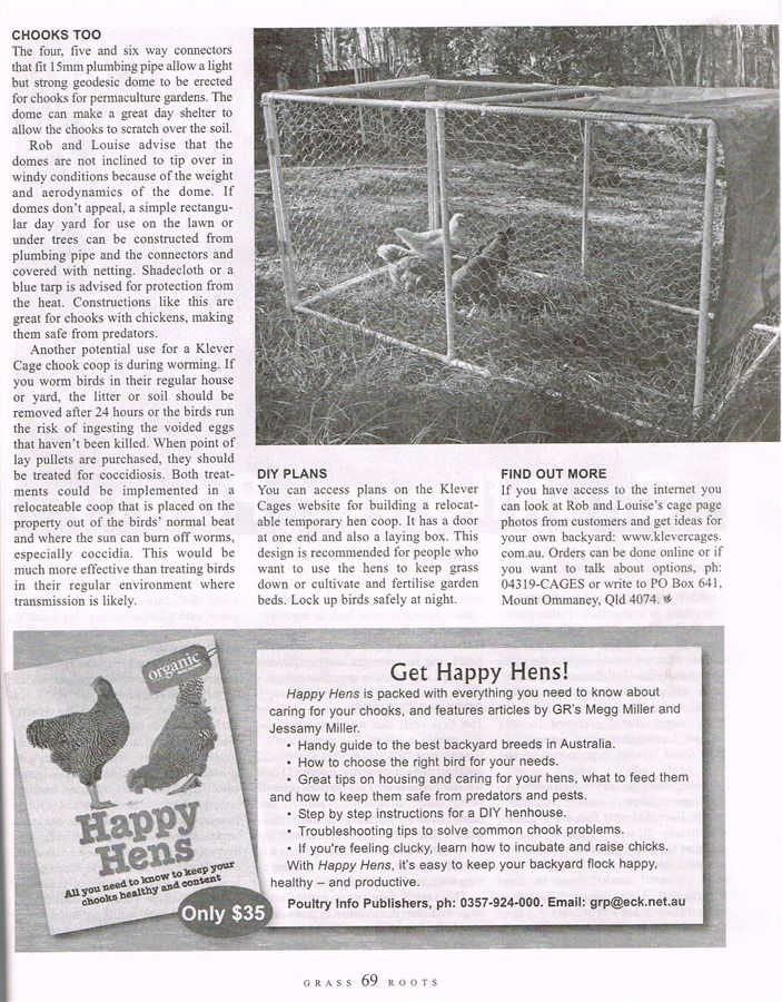 Klever cages in Grass Roots magazine Apr/May 2016 Page 2