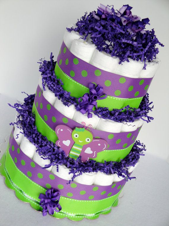Baby Diaper Cake - Colorful Purple & Green Polka Dot Butterfly Baby Girl Baby Diaper Cake Shower Centerpiece - 3 Tier Shower Decoration Gift. $65.00, via Etsy.