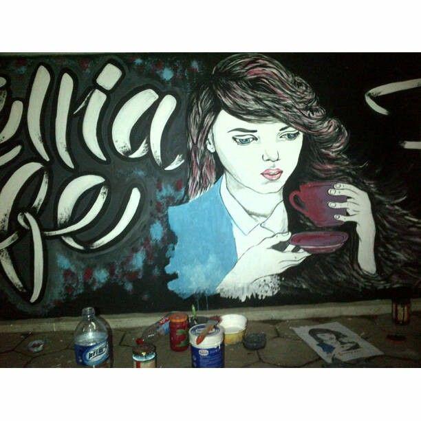 coffee girl mural wall