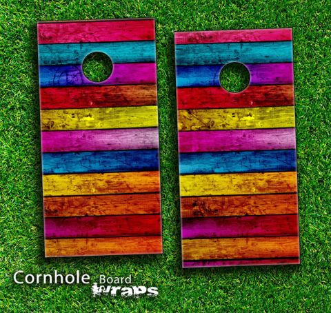 Cornhole Boards Designs   79.95 Neon Wood Planks Skin Set For A Pair Of  Cornhole