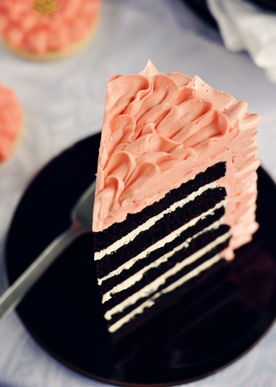 chocolate cake, raspberry frosting. YES!