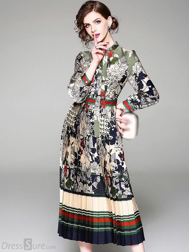 cb9e6084c4 Folk Floral Long Sleeve Pleated Lacing Bowknot Skater Dress - DressSure.com