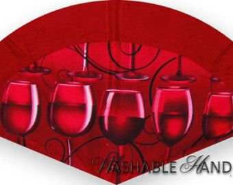 Washable Hand Fan Traditional Wine Glass in by WashableHandFans