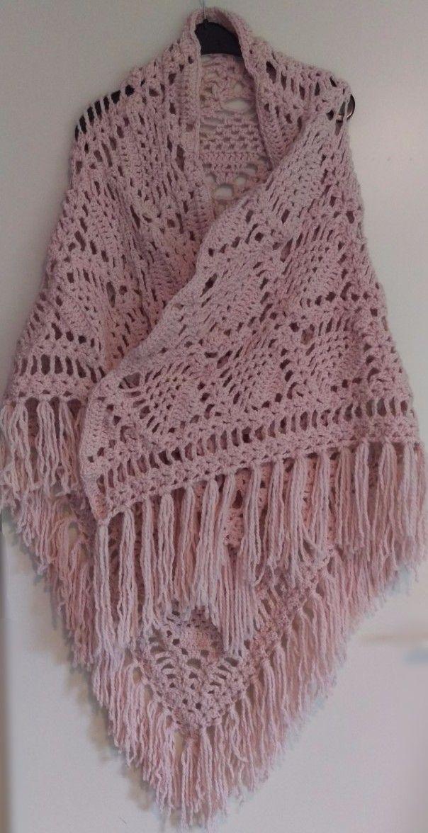 gehaakte omslagdoek roze, gehaakte sjaal roze, crochet scarf pink