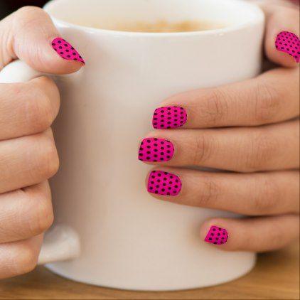 #Black polkadots minx nail wraps - #cute #pink #sweet #custom