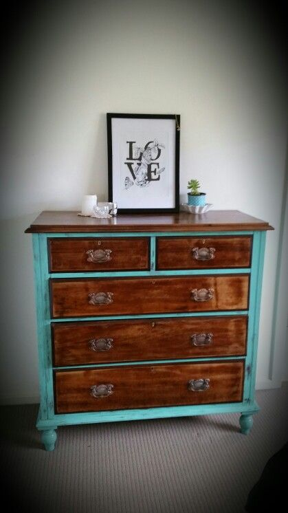 Redone dresser, furniture.                                                                                                                                                                                  More