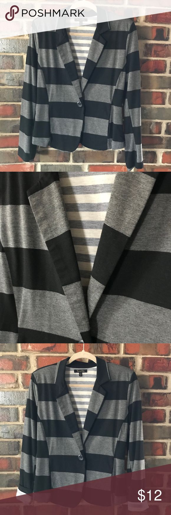 Super Soft Black & Gray Stripe, lined Jacket This super soft jacket is fully lined in a contrasting gray & white stripe fabric. Looks great with jeans, dressed down with a tee or up with a dressier shirt or tank. Sleeves can be turned up for a peek of contrasting fabric. Both fabrics are a super comfy & soft t-shirt fabric. Black & Gray stripe is polyester, rayon & spandex blend. Gray & white fabric is 100% polyester. Hand wash, lay flat to dry. Max & Riley Jackets & Coats Blazers