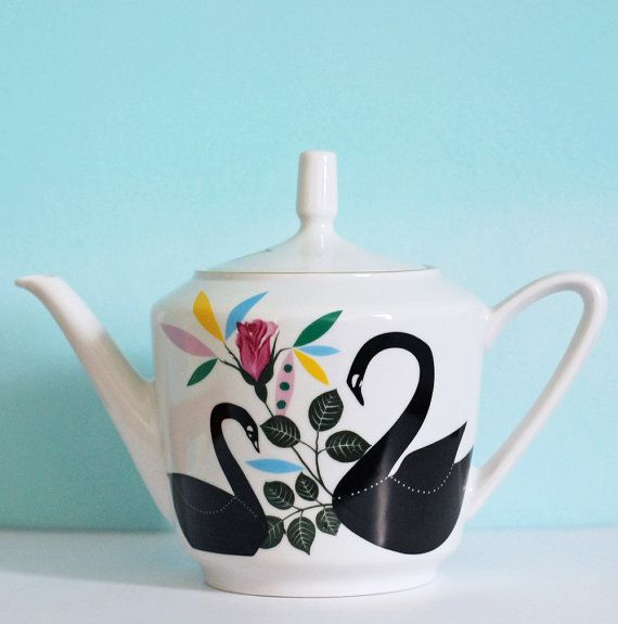 This is a beautiful, medium-sized vintage roses teapot, redecorated by me with my screenprinted/collage image of black swans and colorful leaves. I added the collage of screenprinted images by hand, which makes this a unique, one of a kind design. The teapot is appr. 7.6/19 cm high and its contents are approximately 1 liter (about 4 large mugs of tea).  The teapot is vintage, but its still in a beautiful condition. Its only sign of age is a very tiny bit of damage on the inside of the lid…