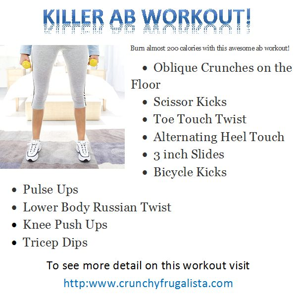 Get In Shape With This Killer Ab Workout! Http://www.crunchyfrugalista