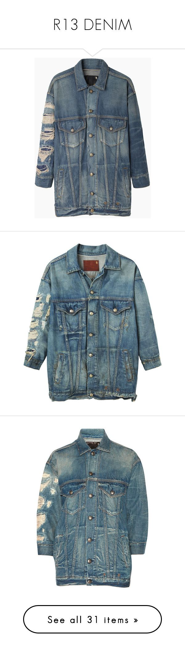 """""""R13 DENIM"""" by mungivore ❤ liked on Polyvore featuring outerwear, jackets, coats, coats & jackets, denim, blue jean jacket, bleached jean jacket, cropped denim jacket, light weight denim jacket and lightweight denim jacket"""