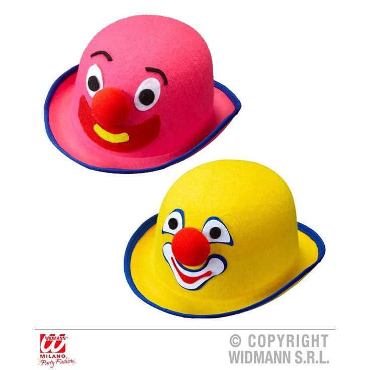 Felt Clown Bowler Pink & Yellow Asstd Hat Circus Fancy Dress Costume Accessory #Widmann