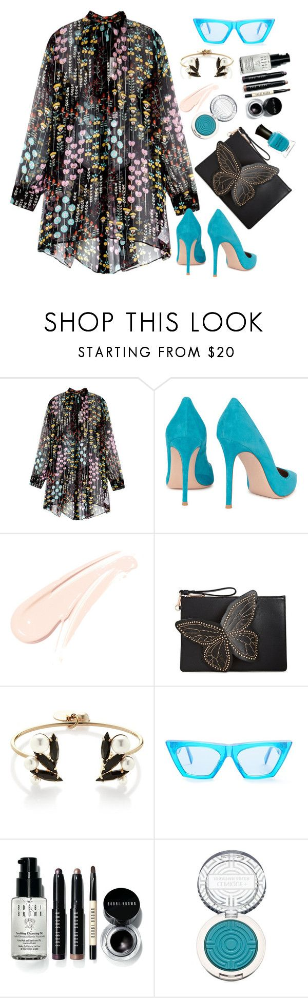 """""""Valentino"""" by thestyleartisan ❤ liked on Polyvore featuring Valentino, Gianvito Rossi, Sophia Webster, Anton Heunis, CÉLINE, Bobbi Brown Cosmetics, Clinique and Deborah Lippmann"""