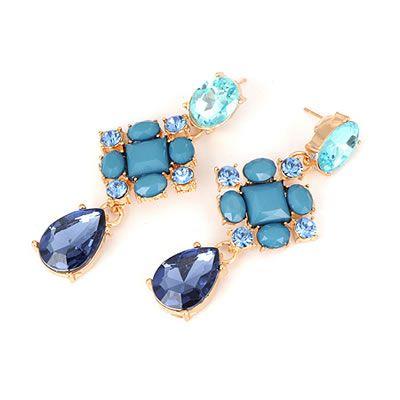Aros fiesta, cristales azules y acrilicos