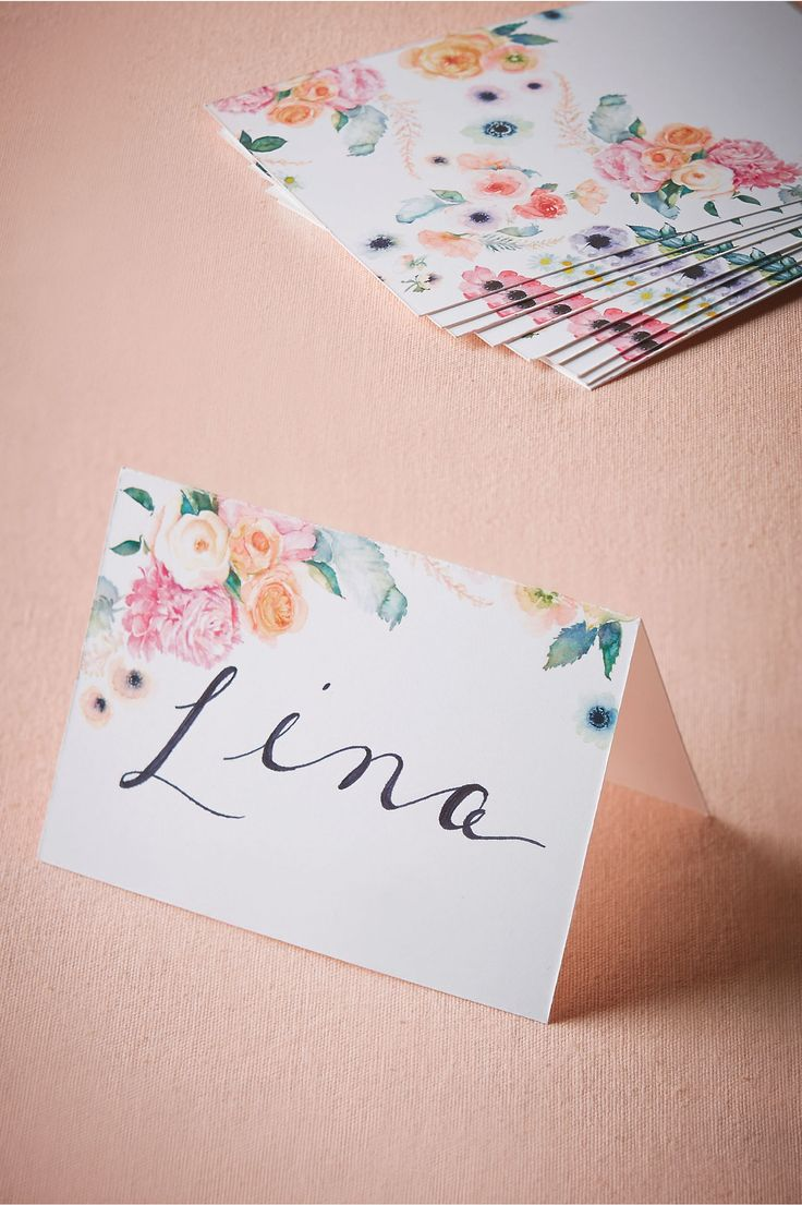 Pretty good match with the water color floral invitation Water-Rose Place Cards (10) from @BHLDN