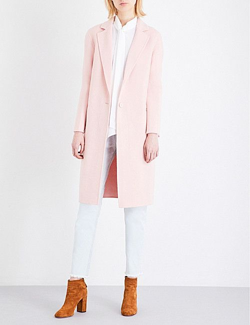 SANDRO Single-breasted wool-blend coat