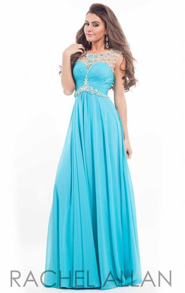 Dazzling Beaded Ruched Long Prom Dresses by Rachel Allan 6934 2017