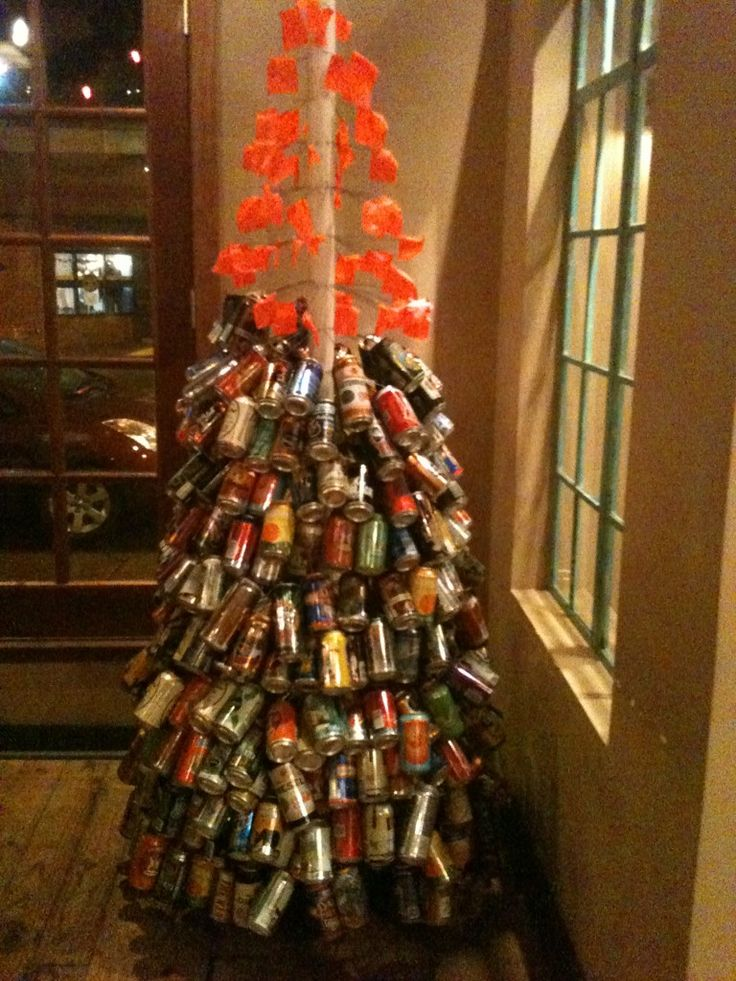 Beer can Christmas tree at Percy Street BBQ!