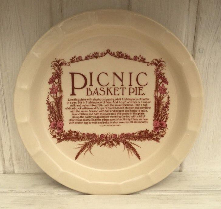 TG green epicure plate picnic basket pie vintage  | eBay