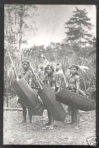 3-Dayak-Warriors-photo-postcard-Borneo-Malaysia-20s