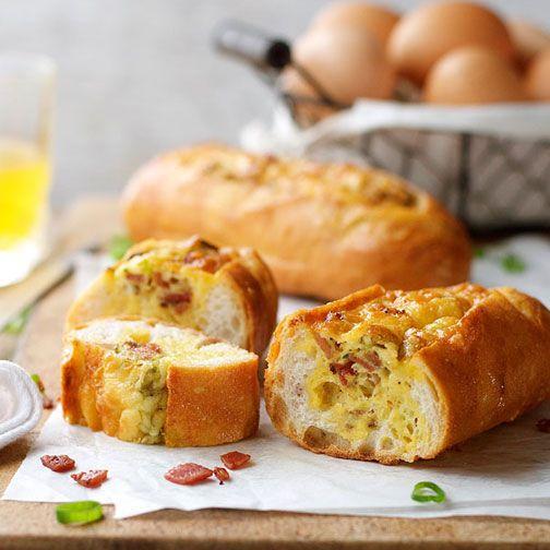 Cheese and Bacon Bread Boats Recipe - RecipeChart.com