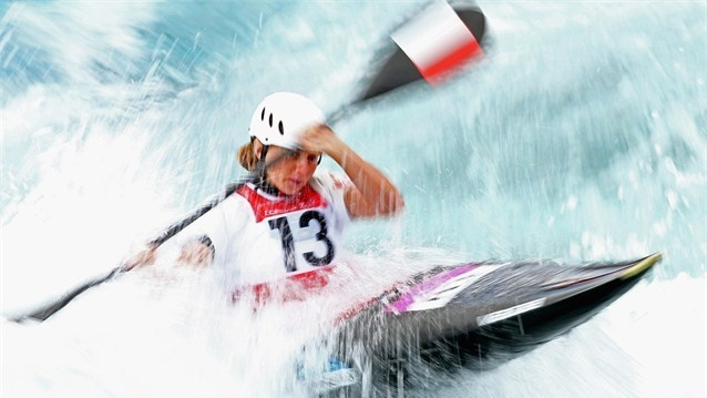 Natalia Pacierpnik of Poland competes in the women's Canoe Slalom heats on Day 3 of the London 2012 Olympic Games at Lee Valley White Water Centre.