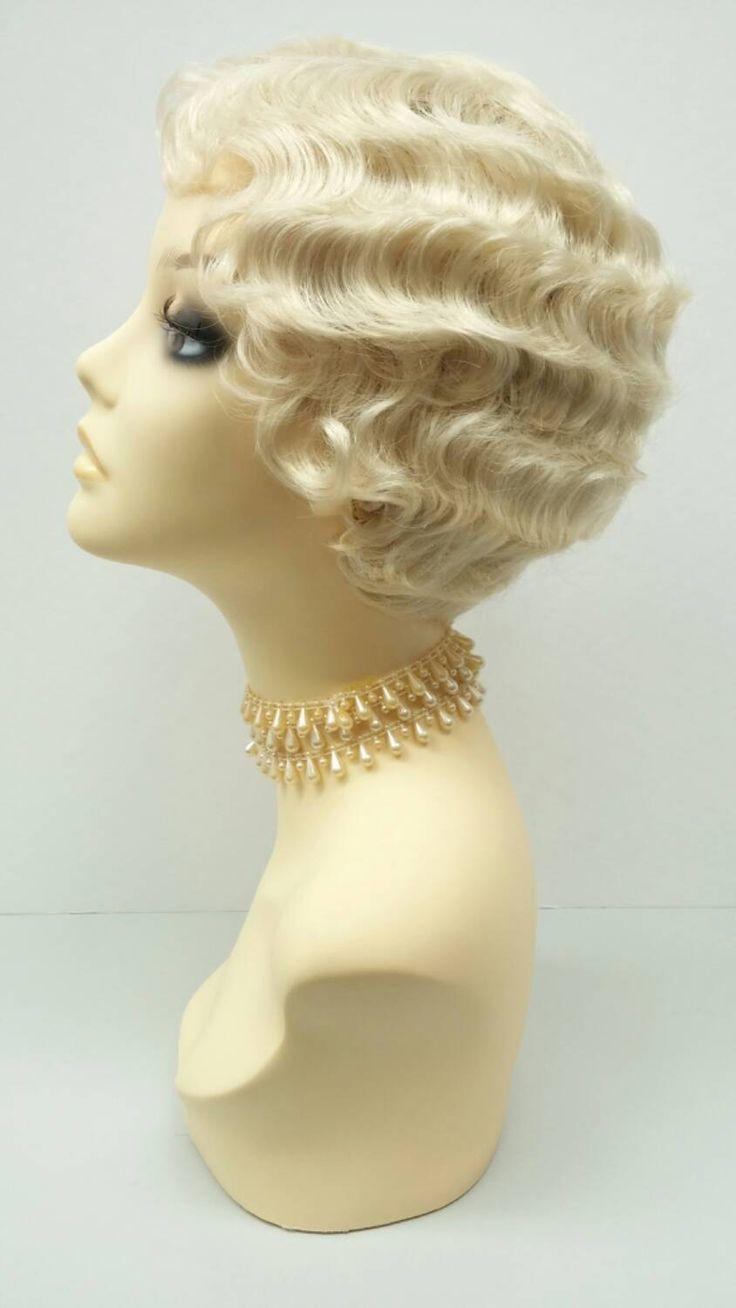 1920s Style Short Blonde Finger Wave Wig Marcel Wave