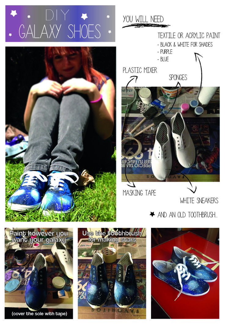 DIY Galaxy shoes I follow the instruction of this girl here: http://www.youtube.com/watch?v=hdAosXPGfkM