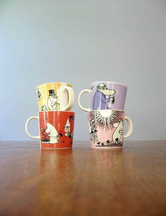 Single Vintage Arabia Finland Moomin Mug - Hemulen Purple