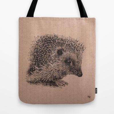 hedgehog Tote Bag by Fru Kuhari - $22.00