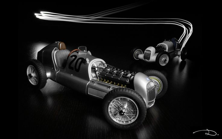 The result of a light-painting photo session with 2x CMC's Mercedes-Benz W25 models in 1:18th scale.